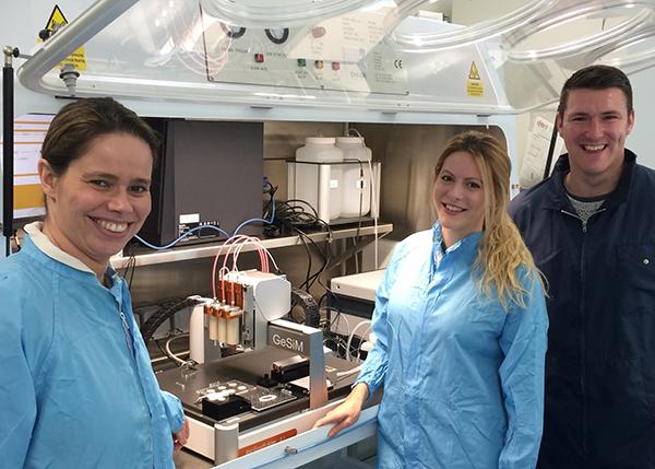 Professor Mara Cercignani, Miss Ella Hodder and Dr Mark Best of the BCRM group at the University of Brighton with their GeSiM 3D BioScaffolder printer