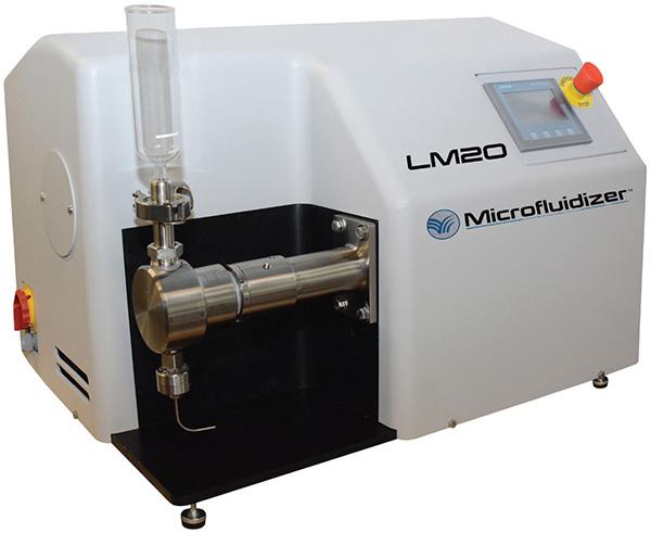 The LM20 Microfluidizer High Shear Fluid Processor